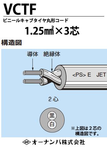 【オーナンバ】ビニルキャブタイヤ丸形コード(VCTFケーブル)VCTF 1.25㎟×3芯 100m