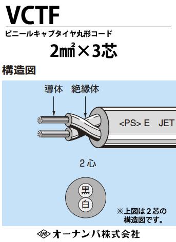 【オーナンバ】ビニルキャブタイヤ丸形コード(VCTFケーブル)VCTF 2㎟×3芯 100m