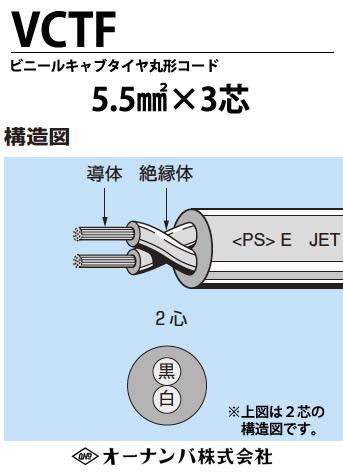 【オーナンバ】ビニルキャブタイヤ丸形コード(VCTFケーブル)VCTF 5.5㎟×3芯 100m