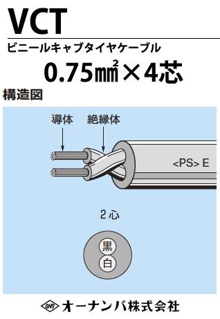 ビニルキャブタイヤケーブル(VCTケーブル)VCT 0.75㎟4芯 100m