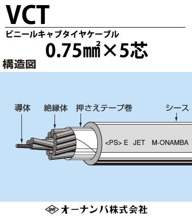 ビニルキャブタイヤケーブル(VCTケーブル)VCT 0.75㎟5芯 100m