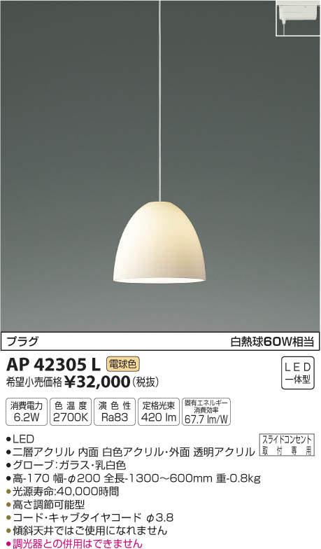 【KOIZUMI】コイズミ照明フランジ 直付・埋込取付消費電力6.2W色温度2700K演色性Ra83 定格光束420lm固有エネルギー消費効率67.7lm/WAP42305L