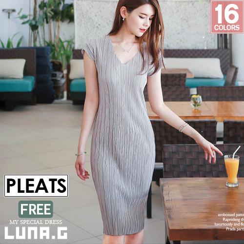 25252399c3bd [16 colors] pleats dress resort dress summer dress v Neck Stretch maxi  dress pleats ...