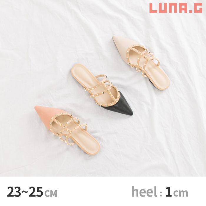 [1 cm플랫]스탓즈라인포인텟드트후랏트판프스뮤르페이크레자스탓즈판프스스립파산다르페탄코레디스슈즈[Black/Beige/Pink] 23.0  cm~25.0 cm dsac110