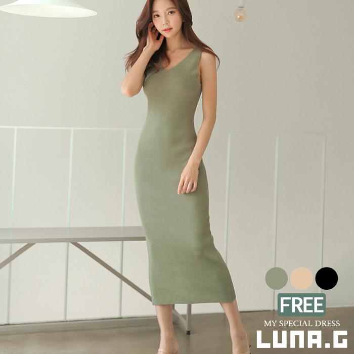 eed952cd49d Knit dress long sleeveless sexy maxi dress resort dress summer dress Korea  fashion lady s tight dress summer knit maxi length dress maxi dress v Neck  ...