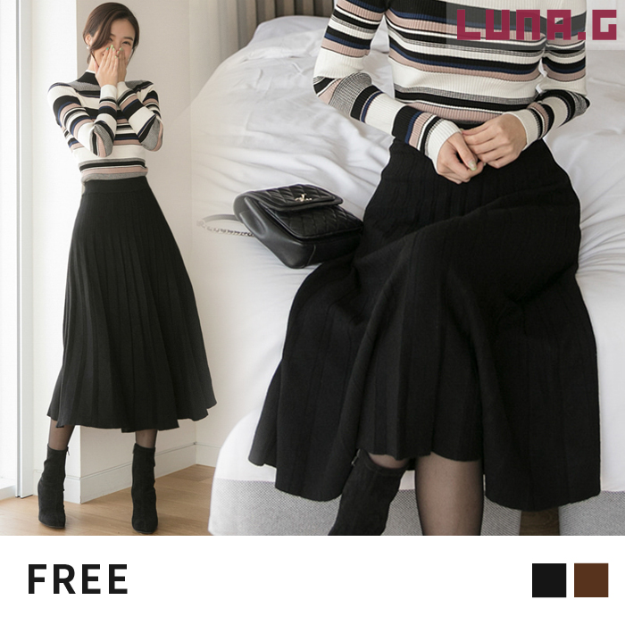 82c7bc618c Pleated skirt knit skirt pleats A-line skirt flare flared skirt waist  rubber bottoms office ...