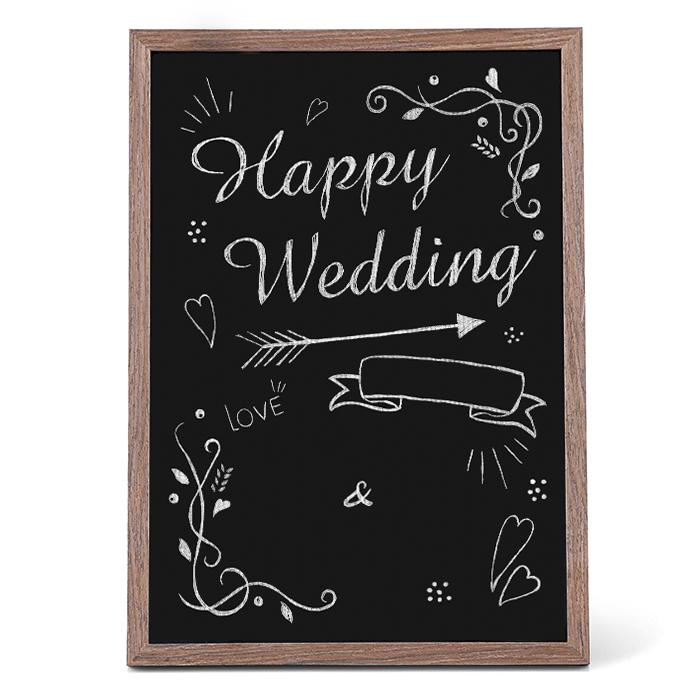 黒板ウェルカムボードキット(ブラウンフレーム付) Happy Wedding【両親贈呈・記念品・ウェルカムボード】