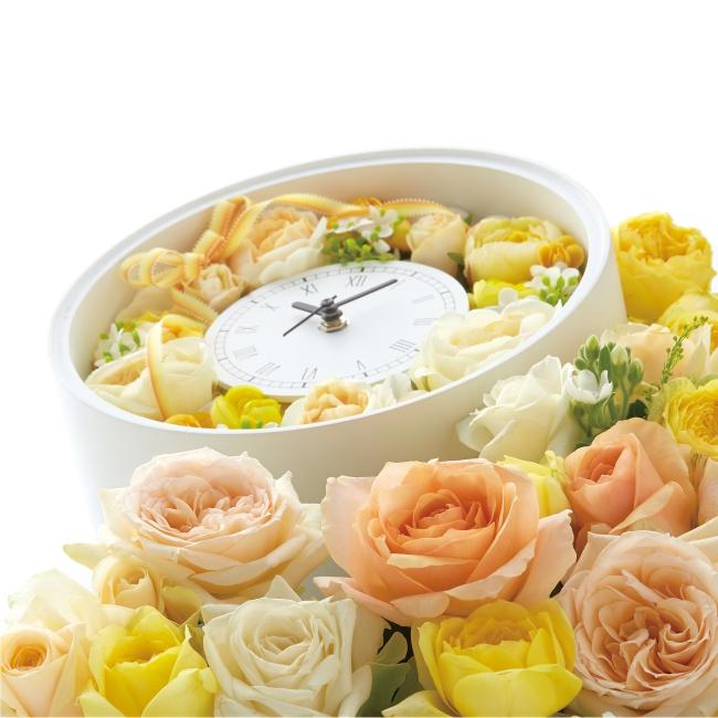 オーバーフラワークロック ラウンド型【時計 記念品 ギフト 結婚式 母の日 誕生日 造花】