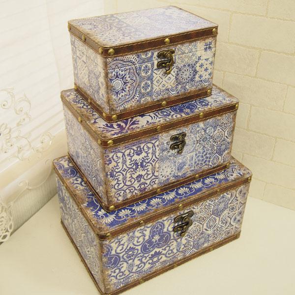 ブルーアラベスク ボックス 3個セット 127