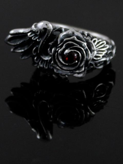 anima exists in all creation[rosa mystica.](シルバーアクセサリー/シルバーアクセ/シルバー/シルバー925/Silver925/銀/アニマ/リング/指輪/メンズ/レディース/ユニセックス/ガーネット/天然石/薔薇/バラ/羽/翼/)