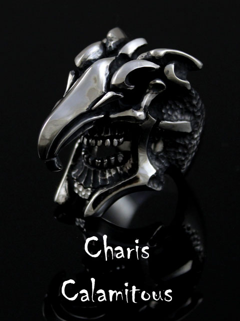 Charis[Calamitous Ring](シルバーアクセサリー/シルバー925/Silver925/カリス/ギリシャ神話/リング/指輪/メンズ/龍/スカル/ドラゴン/骸骨/カラミタス)