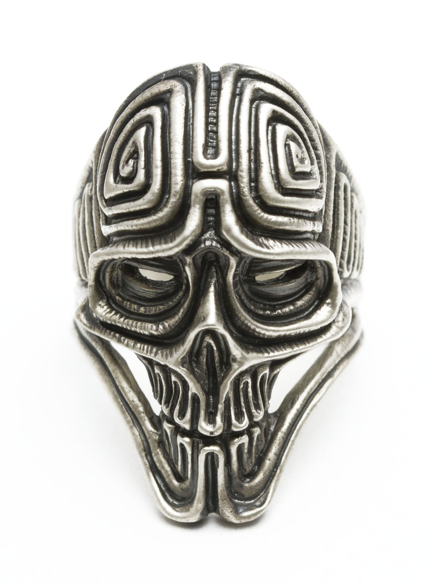 双流 [ar-04 古老 (古)] (银饰品/银斧头 / 银 / 银 925 / Silver925 / 银 / 双流或圆环 / 环 / 男子 / 妇女 / 中性 /Dualflow / 骷髅戒指和头骨)