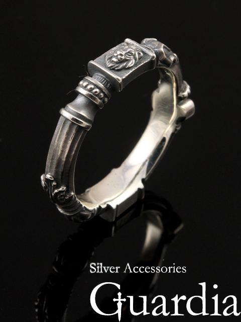 Guardia[Ancient Column] (シルバーアクセサリー/シルバー925/Silver925/ガルディア/リング/指輪/メンズ/レディース/ユニセックス/ライオン/炎/)