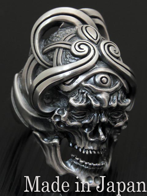 LegioMade[ガーディアンスカル](スカルリング/シルバーアクセサリー/シルバー925/Silver925/レギオメイド/リング/指輪/メンズ/スカルリング/骸骨/髑髏/)