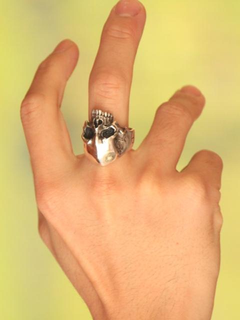 千住 [Rg 2 冥想] (/ 银配件 / 银斧头 / 银 / 银 925 / Silver925 / 银 / 千住 / 千手観音 / 戒指 / 指环 / 男士 / 中性 / 头骨 / 骨架 / 头骨 / 水合物 / / senj / 骷髅戒指)
