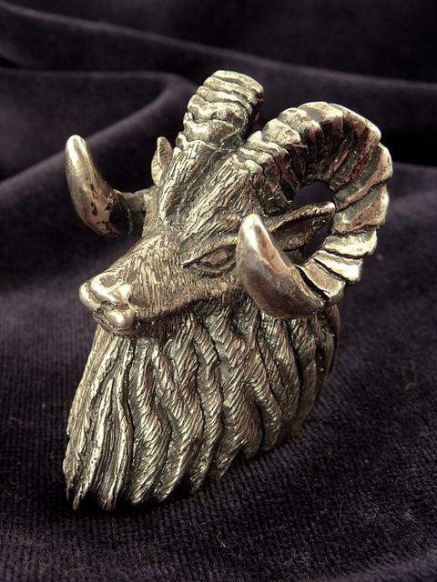 Wildlife Art Silver[GOAT Ring](シルバーアクセサリー/シルバーアクセ/シルバー/シルバー925/Silver925/銀/ソリタリーゴート/リング/指輪/メンズ/超重量級/動物/アニマル/山羊/ヤギ/)