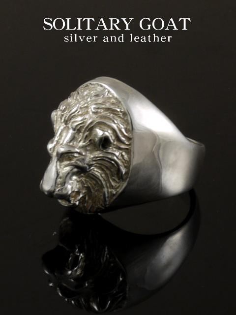EMBLEMA[Engrave Lion Ring](シルバーアクセサリー/シルバーアクセ/シルバー/シルバー925/Silver925/銀/ソリタリーゴート/リング/指輪/メンズ/超重量級/動物/アニマル/ライオン//)