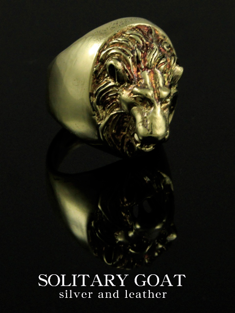EMBLEMA[Engrave Lion Ring Ring(真鍮 Ver)](シルバーアクセサリー/シルバーアクセ/シルバー/シルバー925/Silver925/銀/ソリタリーゴート/リング/指輪/メンズ/超重量級/動物/アニマル/ライオン//)
