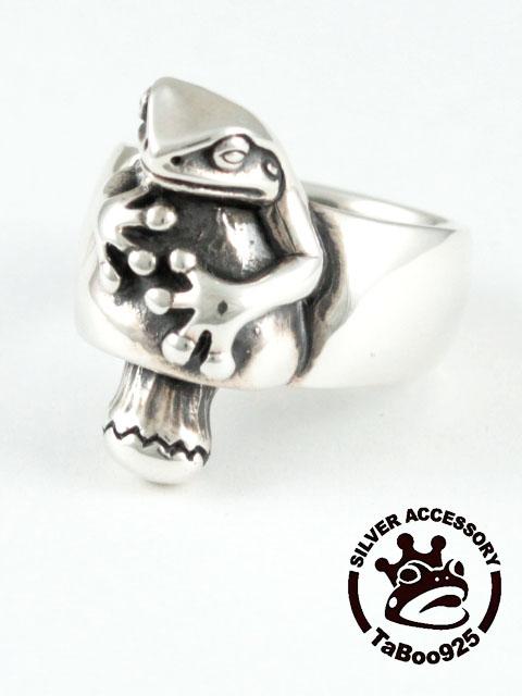 TaBoo925[蛙ときのこリング] (シルバーアクセサリー/silver925/リング/カエル/シルバーアクセ/銀/メンズ/レディース/ユニセックス/カエル/キノコ/指輪)