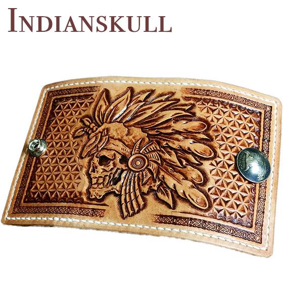 スカル インディアンスカル キーケース 名入れ カービングキーケース