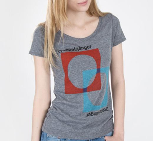 Stereotype Designのオーナーを務めるグラフィックデザイナー マイク ジョイス ドッペルゲンガー Tシャツ 出色 新色追加 Out of Heather Print Tee Grey Womens Terms Doppelg#228;nger Literary