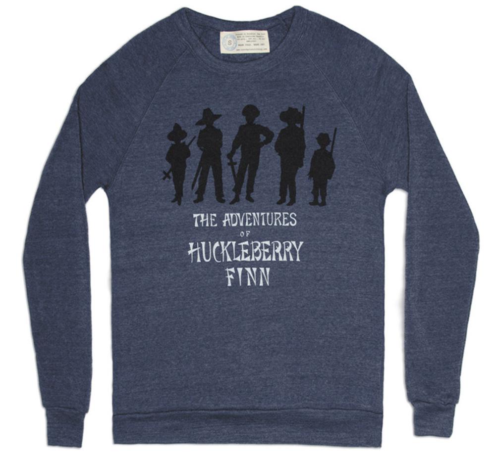 マーク トウェイン ハックルベリー フィンの冒険 1884 英国初版デザイン スウェットシャツ Out 本物 of Mark Sweatshirt Twain Print Navy Finn 男女兼用 Adventures Huckleberry
