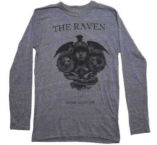 エドガー アラン ポー 大鴉 激安セール 1845 ロングスリーブ Tシャツ アウトレットセール 特集 Out of Print Long Sleeved Raven The Grey Allan Tee Poe Edgar