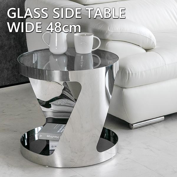 【送料無料】 サイドテーブル モダン 丸 テーブル 高級感 ガラス製 ガラステーブル 花台 ナイトテーブル ブラック 黒 シルバー メタル おしゃれ ベッドサイドテーブル 丸型 シンプル