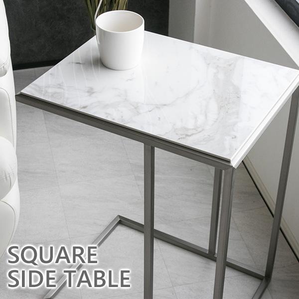 【送料無料】 サイドテーブル 大理石柄 高級感 長方形 モダン ステンレス 45 テーブル マーブル ソファサイドテーブル 北欧 おしゃれ セラミック スタイリッシュ ナイトテーブル