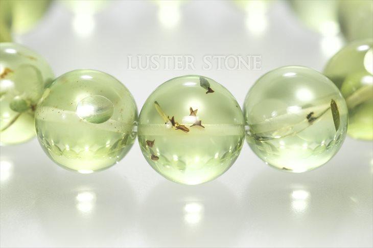 パワーストーン 天然石 ブレスレット グリーンアンバー(琥珀) 14.5mm