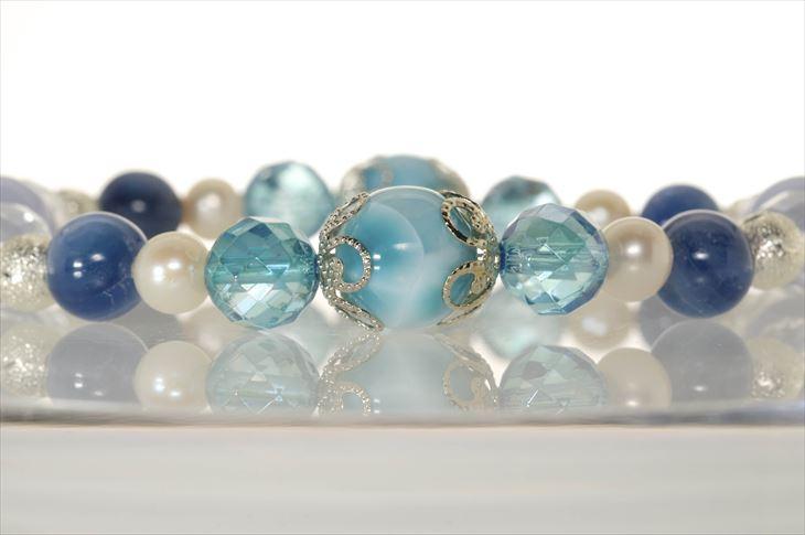パワーストーン 天然石 ブレスレット レディース ラリマー ブルーレースアゲート カイヤナイト 水晶ミラーカット 淡水パール