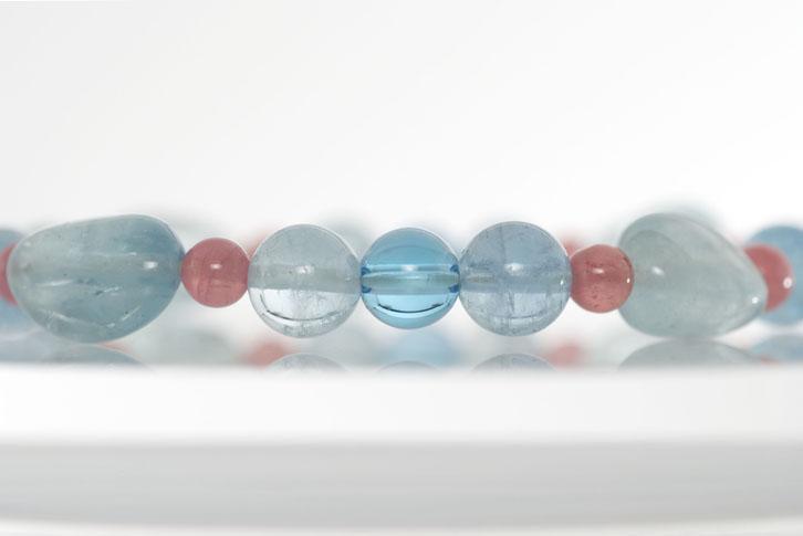 【受注生産品】 パワーストーン 天然石 ブレスレット レディース ブルートパーズ インカローズ 水晶カットボタン, ヤワラムラ:acc466bb --- supercanaltv.zonalivresh.dominiotemporario.com