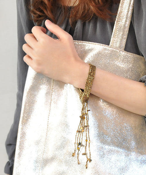 UTZ JEWELLERY有孔玻璃珠手镯FLECOS青铜
