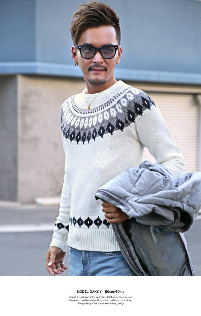 니트 스웨터 맨즈 크루 넥 구심무늬 BITTER 비타계 가을과 겨울 니트 스웨터 노르딕 네이티브 인디언 민족무늬 서후로하스쟈가드라그란 긴소매눈스노우 snow 컨트리 북유럽 캐나다 에스키모 패션