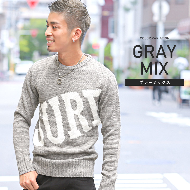 LUX STYLE  Knit sweater men long sleeves surf SURF knit sweater tops ... 49e9c2505