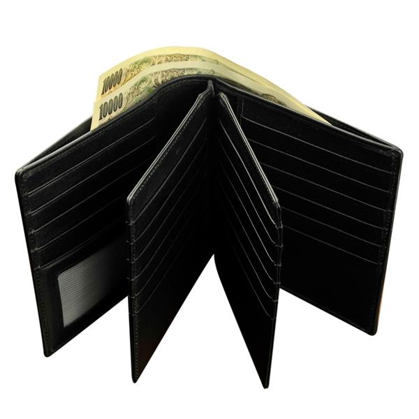 二つ折り財布(カーボンフィルムレザー/牛革)六面カードポケット/小銭入れなし BECKER(ベッカー)ドイツ製