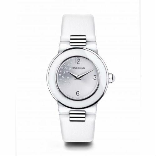 【国内正規品】2年保証MAUBOUSSIN モーブッサン レディース 腕時計 ウォッチ AMOUR LE JOUR BLANCHE 15dts LEATHER BELT/アムール・ル・ジュール レザーベルト 9252101-590