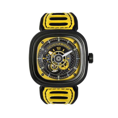 ご購入で白ラバースペアベルトプレゼント!!【国内正規品】SEVEN FRIDAY セブンフライデー 自動巻き メンズ レディース 腕時計 ウォッチ P3B-03 Racing Team Yellow レーシングチームイエロー