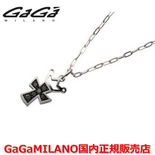 【国内正規品】GaGa MILANO ガガミラノ Men's/メンズ Ladies/レディース K18WG CROSS NECKLACE/クロスネックレス(M) クロス/ブラックダイヤモンド(M)