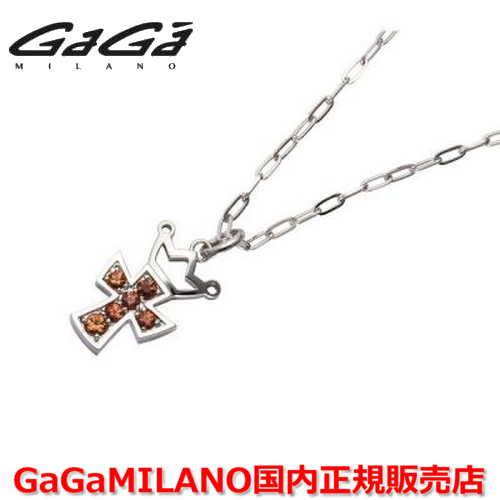 【国内正規品】GaGa MILANO ガガミラノ Men's/メンズ Ladies/レディース K18WG CROSS NECKLACE/クロスネックレス(M) クロス/オレンジサファイヤ(M)