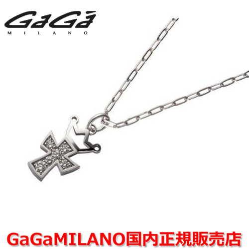 【国内正規品】GaGa MILANO ガガミラノ Men's/メンズ Ladies/レディース K18WG CROSS NECKLACE/クロスネックレス(M) クロス/ダイヤモンド(M)