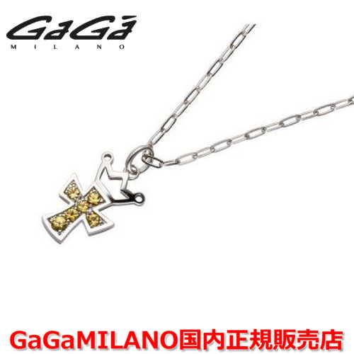 【国内正規品】GaGa MILANO ガガミラノ Men's/メンズ Ladies/レディース K18WG CROSS NECKLACE/クロスネックレス(M) クロス/イエローサファイヤ(M)