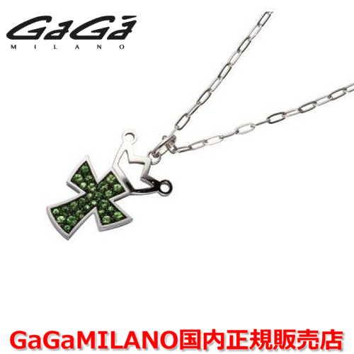 【国内正規品】GaGa MILANO ガガミラノ Men's/メンズ Ladies/レディース K18WG CROSS NECKLACE/クロスネックレス(L) クロス/グリーンガーネット(L)