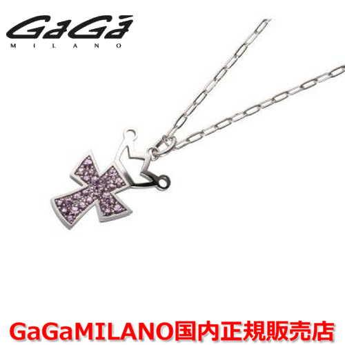 【国内正規品】GaGa MILANO ガガミラノ Men's/メンズ Ladies/レディース K18WG CROSS NECKLACE/クロスネックレス(L) クロス/ピンクサファイヤ(L)