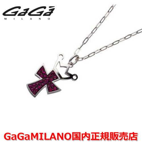 【国内正規品】GaGa MILANO ガガミラノ Men's/メンズ Ladies/レディース K18WG CROSS NECKLACE/クロスネックレス(L) クロス/ルビー(L)