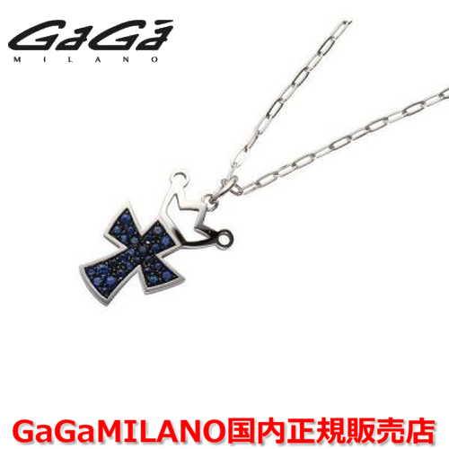 【国内正規品】GaGa MILANO ガガミラノ Men's/メンズ Ladies/レディース K18WG CROSS NECKLACE/クロスネックレス(L) クロス/サファイヤ(L)