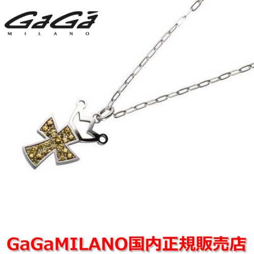 【国内正規品】GaGa MILANO ガガミラノ Men's/メンズ Ladies/レディース K18WG CROSS NECKLACE/クロスネックレス(L) クロス/イエローサファイヤ(L)