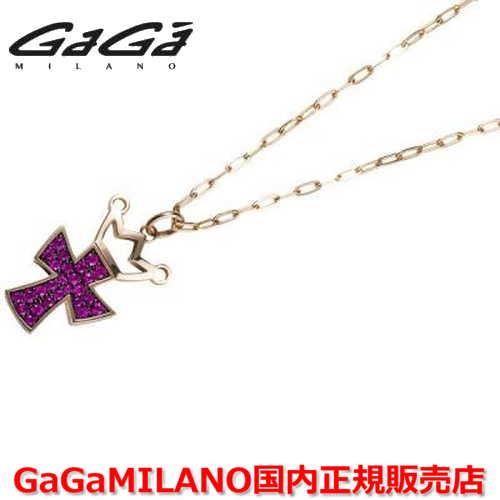 【国内正規品】GaGa MILANO ガガミラノ Men's/メンズ Ladies/レディース K18 CROSS NECKLACE/クロスネックレス(L) クロス/ルビー(L)