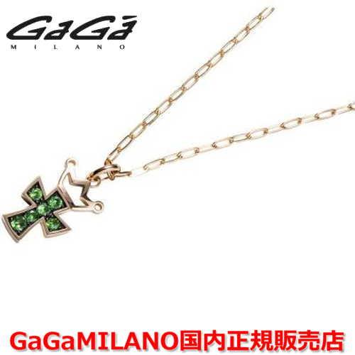 【国内正規品】GaGa MILANO ガガミラノ Men's/メンズ Ladies/レディース K18 CROSS NECKLACE/クロスネックレス(M) クロス/グリーンガーネット(M)
