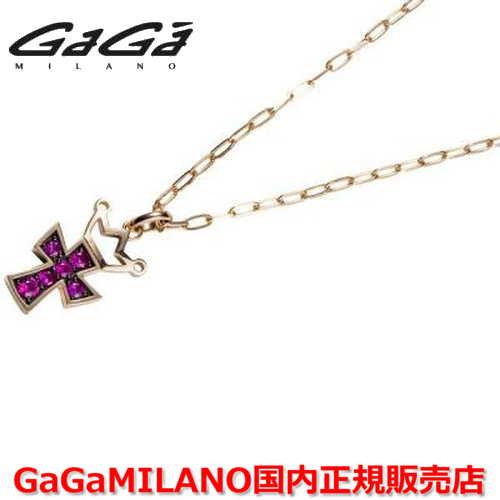【国内正規品】GaGa MILANO ガガミラノ Men's/メンズ Ladies/レディース K18 CROSS NECKLACE/クロスネックレス(M) クロス/ルビー(M)